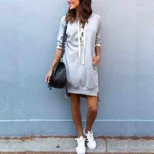 Grey French Terry Sweatshirt Dress / Top M
